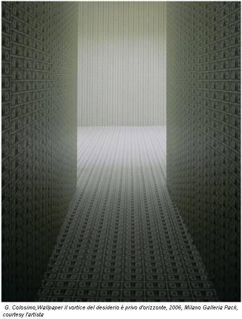 G. Colosimo,Wallpaper il vortice del desiderio è privo d'orizzonte, 2006, Milano Galleria Pack, courtesy l'artista