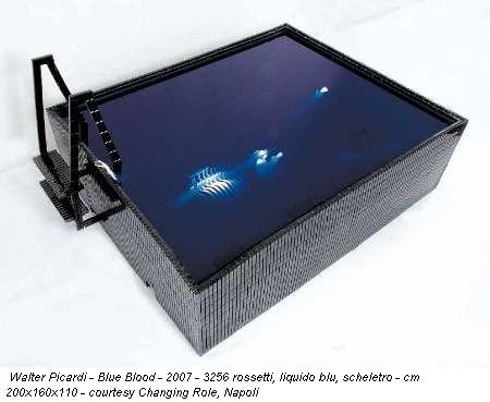 Walter Picardi - Blue Blood - 2007 - 3256 rossetti, liquido blu, scheletro - cm 200x160x110 - courtesy Changing Role, Napoli