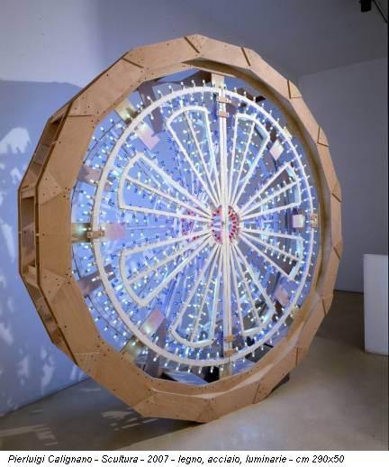 Pierluigi Calignano - Scultura - 2007 - legno, acciaio, luminarie - cm 290x50