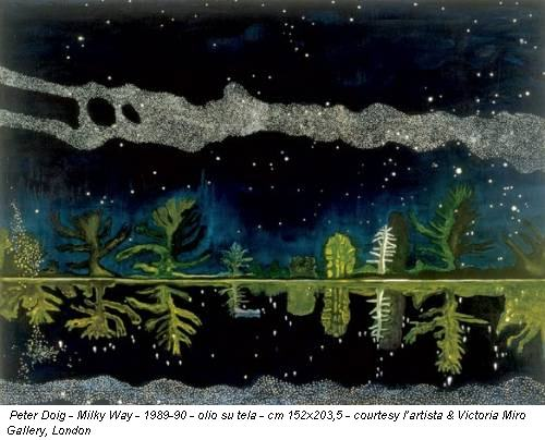 Peter Doig - Milky Way - 1989-90 - olio su tela - cm 152x203,5 - courtesy l'artista & Victoria Miro Gallery, London