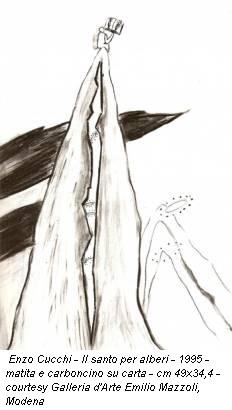 Enzo Cucchi - Il santo per alberi - 1995 - matita e carboncino su carta - cm 49x34,4 - courtesy Galleria d'Arte Emilio Mazzoli, Modena