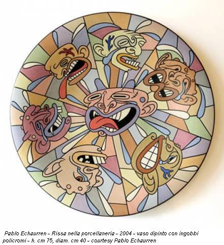 Pablo Echaurren - Rissa nella porcellaneria - 2004 - vaso dipinto con ingobbi policromi - h. cm 75, diam. cm 40 - courtesy Pablo Echaurren