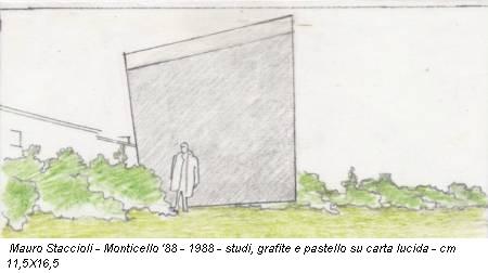 Mauro Staccioli - Monticello '88 - 1988 - studi, grafite e pastello su carta lucida - cm 11,5X16,5