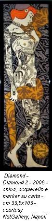 Diamond - Diamond 2 - 2008 - china, acquerello e marker su carta - cm 33,5x103 - courtesy NotGallery, Napoli