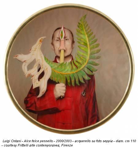 Luigi Ontani - Alce felce pennello - 2000/2003 - acquerello su foto seppia - diam. cm 110 - courtesy Frittelli arte contemporanea, Firenze