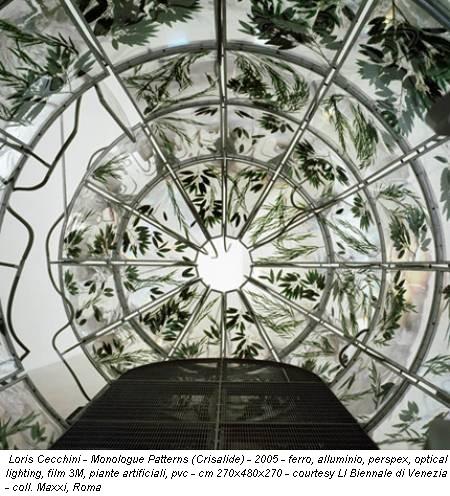 Loris Cecchini - Monologue Patterns (Crisalide) - 2005 - ferro, alluminio, perspex, optical lighting, film 3M, piante artificiali, pvc - cm 270x480x270 - courtesy LI Biennale di Venezia - coll. Maxxi, Roma