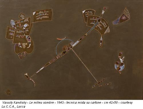 Vassily Kandisky - Le milieu sombre - 1943 - tecnica mista su cartone - cm 42x50 - courtesy Lu.C.C.A., Lucca