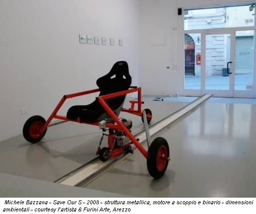 Michele Bazzana - Save Our S - 2008 - struttura metallica, motore a scoppio e binario - dimensioni ambientali - courtesy l'artista & Furini Arte, Arezzo