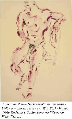 Filippo de Pisis - Nudo seduto su una sedia - 1940 ca. - olio su carta - cm 32,5x23,1 - Museo d'Arte Moderna e Contemporanea Filippo de Pisis, Ferrara
