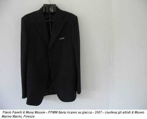 Flavio Favelli & Muna Mussie - FFMM Itavia ricamo su giacca - 2007 - courtesy gli artisti & Museo Marino Marini, Firenze