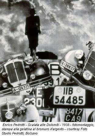 Enrico Pedrotti - Scalata alle Dolomiti - 1938 - fotomontaggio, stampa alla gelatina al bromuro d'argento - courtesy Foto Studio Pedrotti, Bolzano
