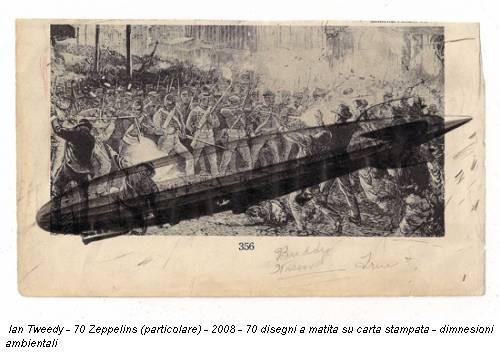 Ian Tweedy - 70 Zeppelins (particolare) - 2008 - 70 disegni a matita su carta stampata - dimnesioni ambientali