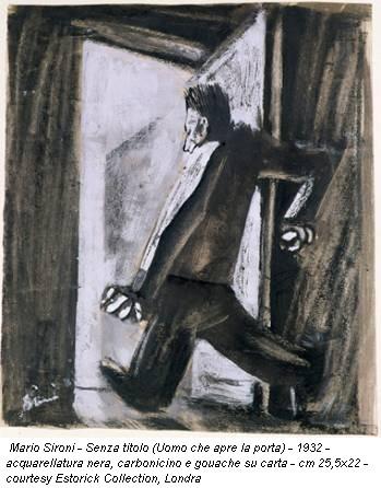 Mario Sironi - Senza titolo (Uomo che apre la porta) - 1932 - acquarellatura nera, carbonicino e gouache su carta - cm 25,5x22 - courtesy Estorick Collection, Londra