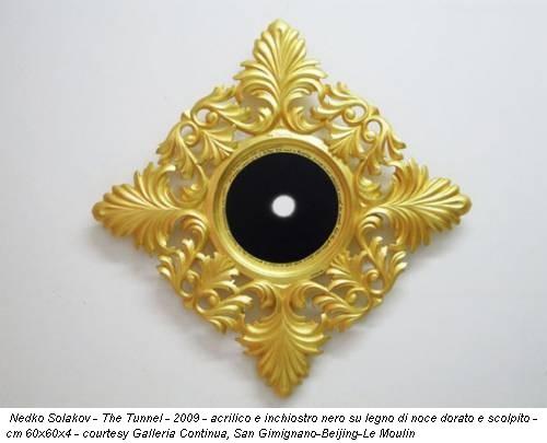 Nedko Solakov - The Tunnel - 2009 - acrilico e inchiostro nero su legno di noce dorato e scolpito - cm 60x60x4 - courtesy Galleria Continua, San Gimignano-Beijing-Le Moulin