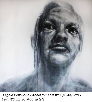 Angelo Bellobono - about freedom #03 (julian) 2011 120x120 cm acrilico su tela