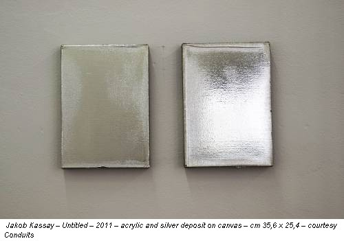 Jakob Kassay � Untitled � 2011 � acrylic and silver deposit on canvas � cm 35,6 x 25,4 � courtesy Conduits