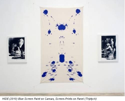 HIDE (2010) Blue Screen Paint on Canvas, Screen-Prints on Panel (Triptych)
