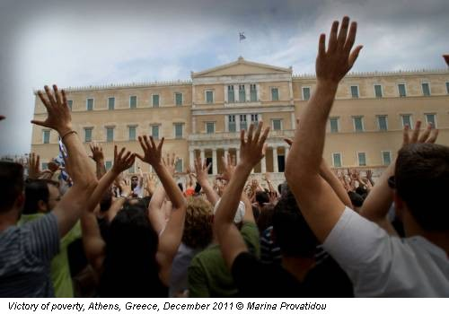 Victory of poverty, Athens, Greece, December 2011 © Marina Provatidou