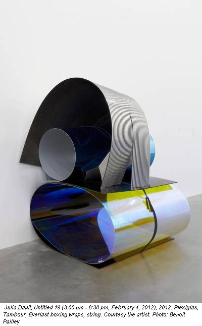 Julia Dault, Untitled 19 (3:00 pm - 8:30 pm, February 4, 2012), 2012. Plexiglas, Tambour, Everlast boxing wraps, string. Courtesy the artist. Photo: Benoit Pailley