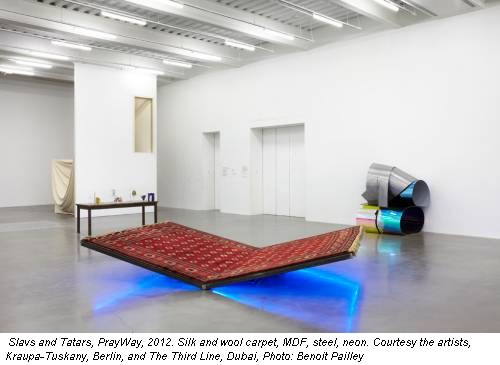 Slavs and Tatars, PrayWay, 2012. Silk and wool carpet, MDF, steel, neon. Courtesy the artists, Kraupa-Tuskany, Berlin, and The Third Line, Dubai, Photo: Benoit Pailley