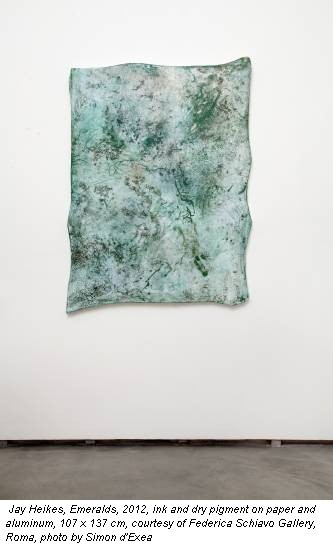 Jay Heikes, Emeralds, 2012, ink and dry pigment on paper and aluminum, 107 x 137 cm, courtesy of Federica Schiavo Gallery, Roma, photo by Simon d'Exea