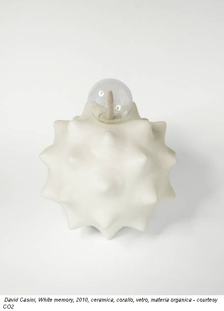David Casini, White memory, 2010, ceramica, corallo, vetro, materia organica - courtesy CO2