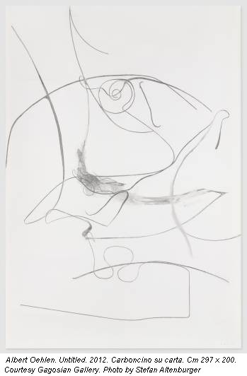 Albert Oehlen. Untitled. 2012. Carboncino su carta. Cm 297 x 200. Courtesy Gagosian Gallery. Photo by Stefan Altenburger