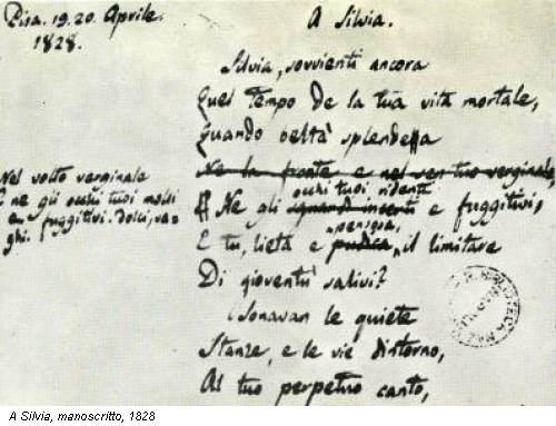 A Silvia, manoscritto, 1828