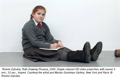 Rineke Dijkstra, Ruth Drawing Picasso, 2009. Single-channel HD video projection, with sound, 6 min., 33 sec., looped. Courtesy the artist and Marian Goodman Gallery, New York and Paris. &copy; Rineke Dijkstra