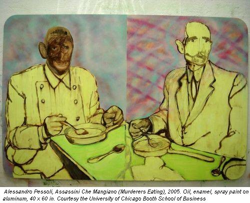 Alessandro Pessoli, Assassini Che Mangiano (Murderers Eating), 2005. Oil, enamel, spray paint on aluminum, 40 x 60 in. Courtesy the University of Chicago Booth School of Business