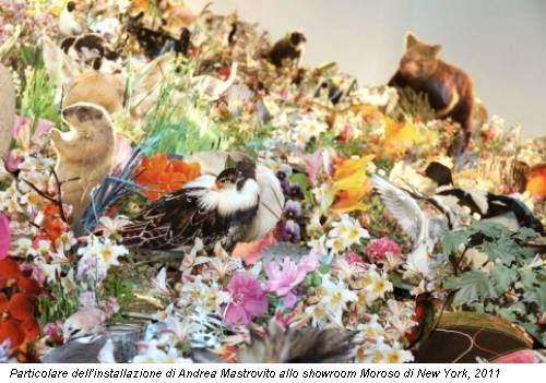 Particolare dell'installazione di Andrea Mastrovito allo showroom Moroso di New York, 2011