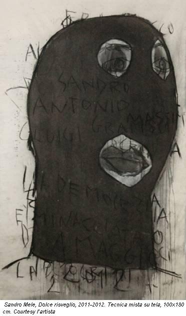 Sandro Mele, Dolce risveglio, 2011-2012. Tecnica mista su tela, 100x180 cm. Courtesy l'artista