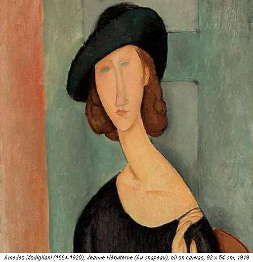 Amedeo Modigliani (1884-1920), Jeanne Hébuterne (Au chapeau), oil on canvas, 92 x 54 cm, 1919