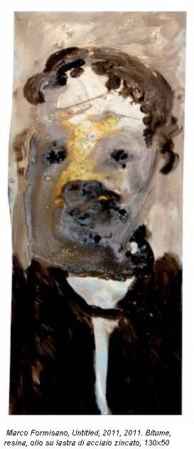 Marco Formisano, Untitled, 2011, 2011. Bitume, resina, olio su lastra di acciaio zincato, 130x50
