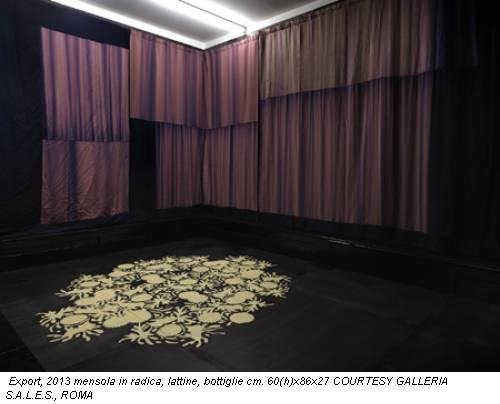 Export, 2013 mensola in radica, lattine, bottiglie cm. 60(h)x86x27 COURTESY GALLERIA S.A.L.E.S., ROMA