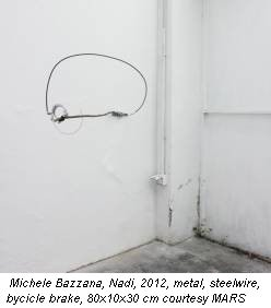 Michele Bazzana, Nadi, 2012, metal, steelwire, bycicle brake, 80x10x30 cm courtesy MARS