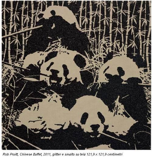 Rob Pruitt, Chinese Buffet, 2011, glitter e smalto su tela 121,9 x 121,9 centimetri