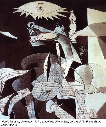 Pablo Picasso, Guernica, 1937 -particolare. Olio su tela, cm 349x776. Museo Reina Sofia, Madrid