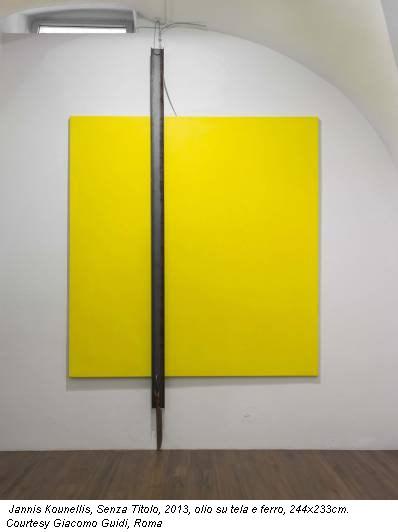 Jannis Kounellis, Senza Titolo, 2013, olio su tela e ferro, 244x233cm. Courtesy Giacomo Guidi, Roma