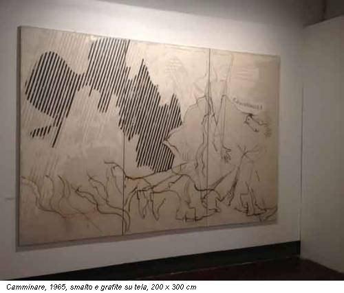 Camminare, 1965, smalto e grafite su tela, 200 x 300 cm