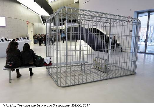 H.H. Lim, The cage the bench and the luggage, MAXXI, 2017
