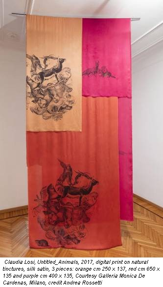 Claudia Losi, Untitled_Animals, 2017, digital print on natural tinctures, silk satin, 3 pieces: orange cm 250 x 137, red cm 650 x 135 and purple cm 400 x 135, Courtesy Galleria Monica De Cardenas, Milano, credit Andrea Rossetti