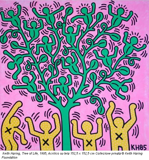Keith Haring, Tree of Life, 1985, Acrilico su tela 152,5 x 152,5 cm Collezione privata © Keith Haring Foundation