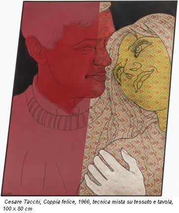 Cesare Tacchi, Coppia felice, 1966, tecnica mista su tessuto e tavola, 100 x 80 cm