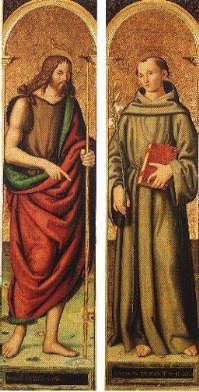 I Santi Giovanni Battista e Antonio; Marcantonio Aquili, 1514.