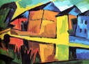 "Karl Schmidit-Rottluff ""Case sul canale"" olio su tela, 74x101 (1912)"