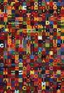 Alighiero Boetti, Oggi trentunesimo del quinto mese anno uno nove otto nove, 1989, arazzo, ricamo a mano su lino, 107 x 107