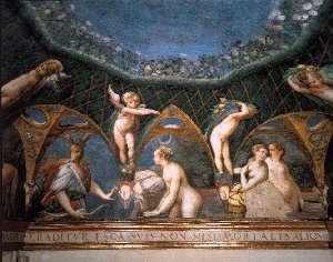 Particolare affresco del Parmigianino nella Rocca di Fontanellato