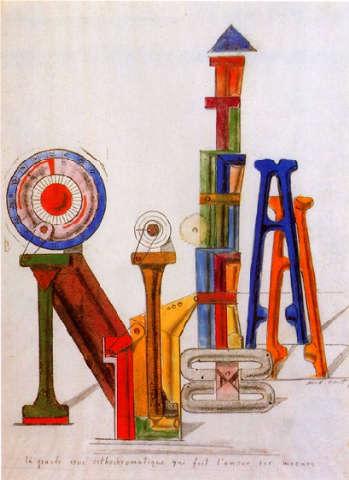 Max Ernst - La grande ruota ortocromatica che fa l'amore su misura (1919)