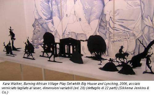 Kara Walker, Burning African Village Play Set whith Big House and Lynching, 2006, acciaio verniciato tagliato al laser, dimensioni variabili (ed. 28) (dettaglio di 22 parti) (Sikkema Jenkins & Co.)
